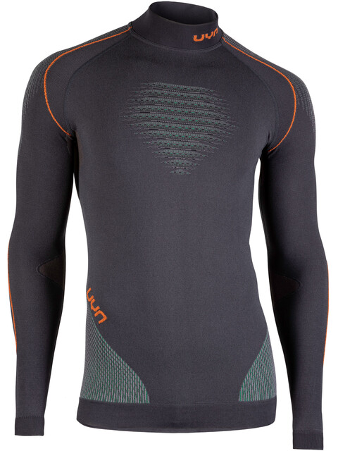 UYN Evolutyion UW LS Turtle Neck Shirt Men Charcoal/Green/Orange Shiny